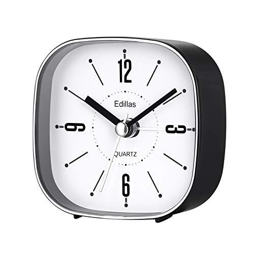 Edillas Viaje Despertadores Analógicos, Silencioso 3 Pulgadas Simple Elegante Portátil Despertador Operado por Batería (Negro)