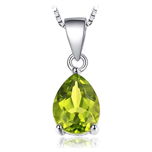 JewelryPalace Birne 1.5ct Natürliche grüne Peridot Birthstone Solitaire Anhänger 925 Sterling Silber