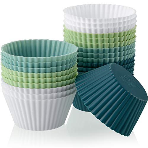Silicone Baking Cups Silicone Cupcake Liners Reusable Muffin Cups Non-Stick Cup Cupcake Holder Molds for Baby Shower Birthday Party Supplies (White, Light Blue, Light Green, Navy Blue,24 Pieces)