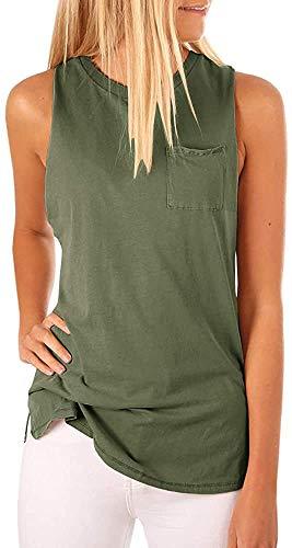 Women's High Neck Tank Top Sleeveless Blouse Plain T Shirts Pocket Cami Summer Tops Army Green