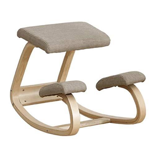 Sedia ergonomica, panca in legno postura con correzione della schiena, dolore al collo e sollievo dalla tensione spinale, caviglia oscillante e ginocchiera morbida ortopedica ( Color : A )