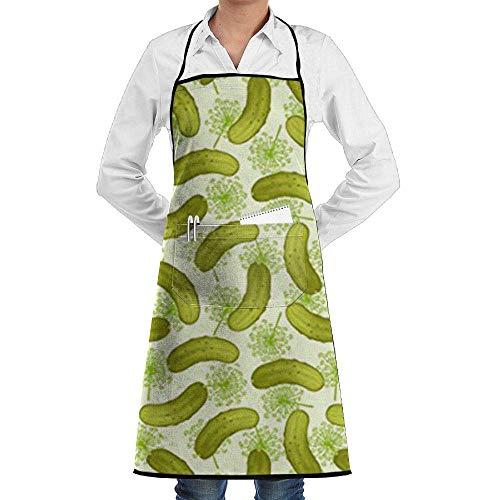 Drempad Premium Schürze, verstellbare Latzschürze mit Taschen, für kommerzielle Restaurants und Zuhause, Küchenschürze – Dill Pickles Druck