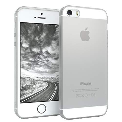 EAZY CASE Hülle kompatibel mit Apple iPhone 5 / 5S / SE (2016) Schutzhülle Silikon, matt & Ultra dünn Slimcover, Handyhülle, TPU/Soft Case, Silikonhülle, Backcover, Transparent