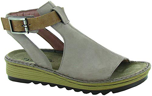 NAOT Footwear Women's Verbena Sandal Stone Nubuck/Latte Brown Leather 10 M US
