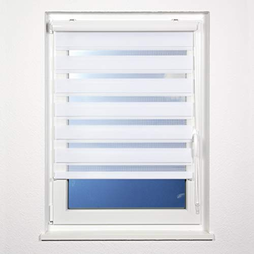 plimotion Double Roller Blind No Drilling with Bezel 120 x 150 cm White