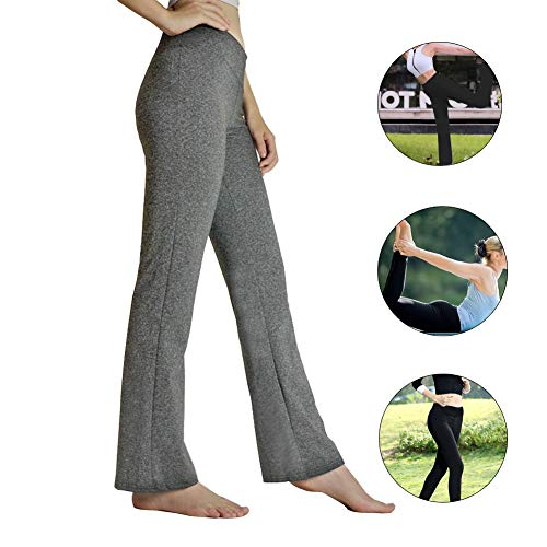 HETAIDA Damen Jogginghose, schnell trocknende Sporthose mit versteckten Taschen, mittlhohe Taille stilvolle freizeitliche Yogahose für Fitness, Outdoor-Sport und als Alltagskleidung (Hemp Gray, M)