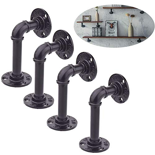 TLBTEK 4pcs 6 Inch L Industrial Black Pipe Bracket Wall Mounted for Shelving Heavy Duty,Wrought Iron Metal Rustic Pipe Shelf Brackets for Custom Floating Shelves, Vintage Furniture Decorations