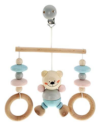 Hess Holzspielzeug 13517 - Minitrapez aus Holz, Serie Bär nature, für Babys, handgefertigt, ca. 17 x 12 x 5,5 cm groß, mit Clip zum Aufhängen am Bett, Kinderwagen oder der Babyschale