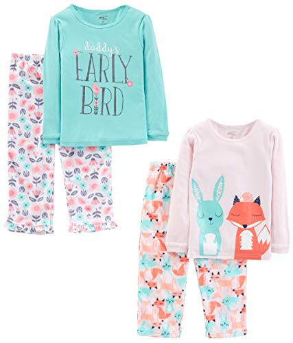 Simple Joys by Carter's Girls' Toddler 4-Piece Pajama Set (Cotton Top & Fleece Bottom), Daddy/Fox/Rabbit, 3T