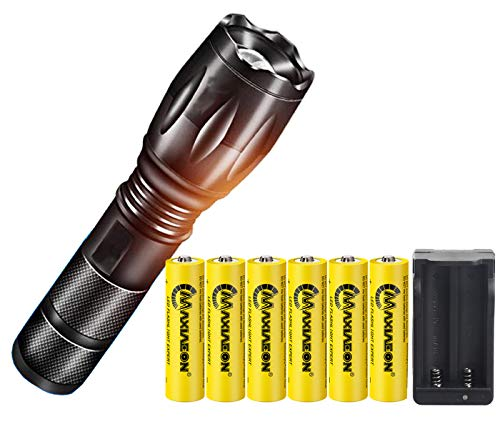 Super Bright 2000 Lumen 18650 Tactical Flashlight and 6PCS 3.7V High Capacity Rechargeable Battery+Batteries Charger,Zoomable, Water Resistant, 5 Modes Handheld Light