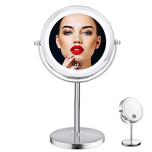 Llxxx make-up spiegel 7in LED make-up spiegel met verlichting, 1x/5x vergrootglas spiegel met standaard, ronde cosmetische spiegel voor badkamer of slaapkamer aanrecht, bureau spiegel met 360° rotatie