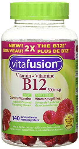 Vitafusion B12 Gummy Vitamins for Adults, Naturally Sourced Raspberry Flavour, 140 Count