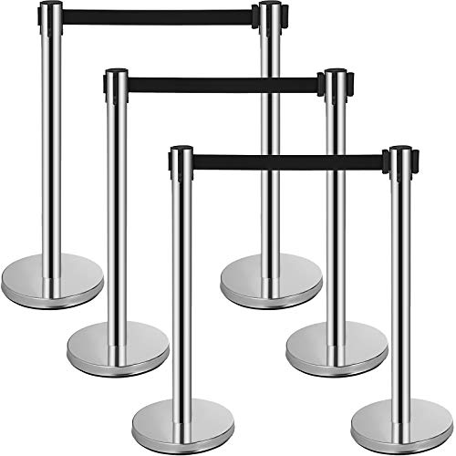 Mophorn 6 Pcs Stainless Steel Stanchions Posts, 6.5' Black Retractable Belt Rope, Barriers 36In Crowd Control Barriers for Party Supplies, Silver Queue Pole