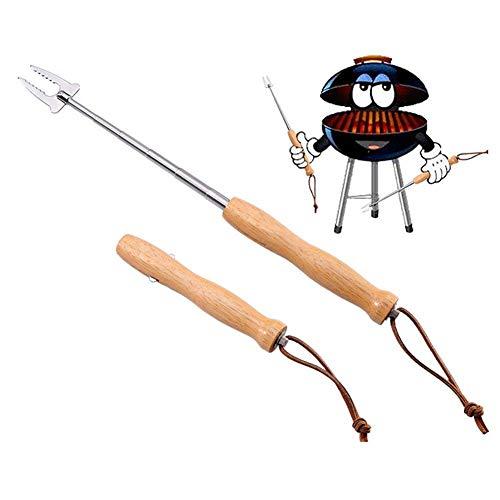 Chalkalon Marshmallow Roasting Sticks, 4 stücke Teleskop Grillgabel aus Edelstahl mit Stabilem Holzgriff Geeignet für BBQ Hotdog Camping Lagerfeuer Zubehör