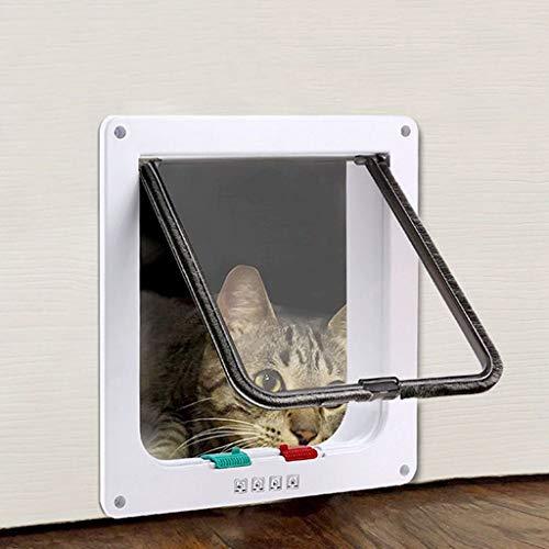 Katten- en hondendeur, kattendeur, 4-weg-vergrendeling, schommelend magnetisch huisdierkleppoort voor buiten, compatibel met volwassenen katten en kleine honden Medium