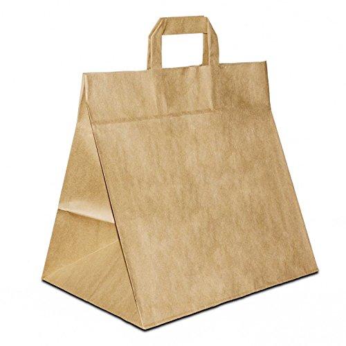 250 x Brotbeutel | Brottüten extra breiter Boden braun 26+17x25 cm | stabile Bäckertüten | Konditortüten weiter Boden | Konditoreibedarf | HUTNER