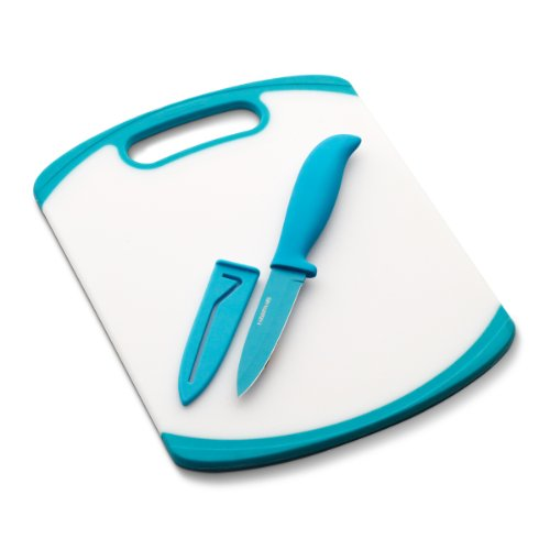 Farberware Paring Knife and Cutting Board Set, White/Blue - 5082055