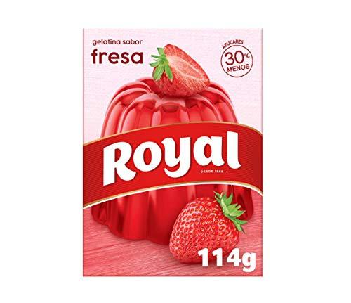 Royal, Gelatina Gusto Fragola, in Polvere, 30% Zuccheri in Meno, 114 gr, 10 Porzioni