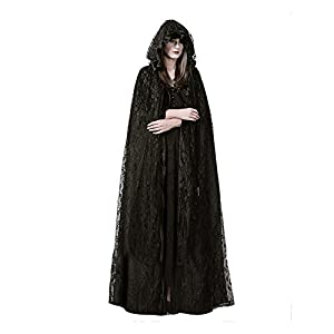 Steampunk Womens Witch Cape Black Hooded Lace Long Coat Christmas Costume, Balck, Size Free