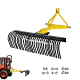AIWARGOD 5FT Landscape Rake for Compact Tractors with 270 Degree Rotation, Category 1, 3 Point Attach Landscape Rock Rake Quick Hitch Compatible Tow-Behind Garden Tool