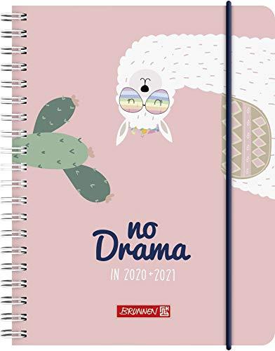"""BRUNNEN 1071850031 """"Lama Drama"""", Wochenkalender/Schülerkalender 2020/2021, 2 Seiten = 1 Woche, Blattgröße 12 x 16 cm, A6 , PP-Einband"""