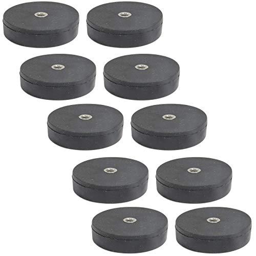 10 Stück Neodym Magnete Gummiert D 22mm Mit M4 Innengewinde Bohrung 5 KG Zugkraft Topfmagnet Gummi Runde Magnete mit Gewinde