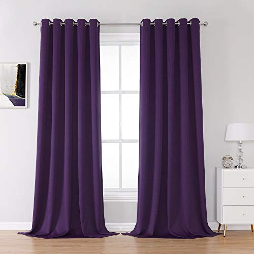 Purple Blackout Curtain Panels 60x108 Inch Length 2 Panels Thermal Insulated Room Darkening Royal Purple Curtains for Bedroom Living Room Window Treatment Blackout Drapery for Windows