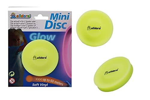 alldoro 63050 3er Set Mini Disc Wurfscheibe mit Glow Effekt, Scheibe Ø ca. 6,5 cm aus Soft Silikon, Flying Discs klein, Wurfspiel bis zu 60 Meter Reichweite, für Kinder, Erwachsene und Hunde, Gelb