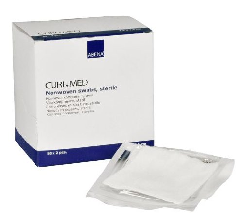 Curi-Med - 100 garze sterili, in tessuto non tessuto, a 4strati, 7,5cm x 7,5cm, colore bianco