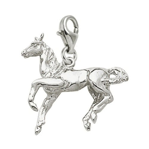 Sterling Silver Horse Charm With Lobster Claw Clasp, Charms for Bracelets and Necklaces