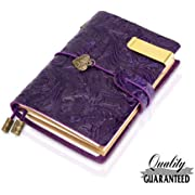 """Refillable Handmade Traveler's Notebook, Leather Travel Journal Notebook for Men & Women, Perfect for Writing, Gifts, Travelers, Small Size 5.3"""" x 4"""" Inches -Purple"""