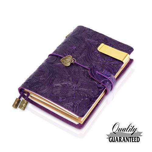 Refillable Handmade Traveler's Notebook, Leather Travel Journal Notebook for Men & Women, Perfect for Writing, Gifts, Travelers, Small Size 5.3' x 4' Inches -Purple