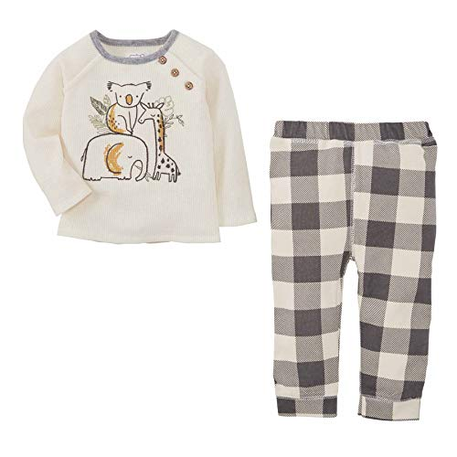 Mud Pie Baby Boys' Animal Stack 2 PC Set Pants, Cream, 3-6 Months