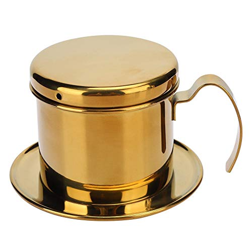 Cafetera Acero Inoxidable Olla Estilo Vietnamita Cafetera Goteo para Hogar Cocina Oficina al Aire libre(Oro)