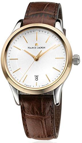 Maurice Lacroix Les Classiques Date Damen-Armbanduhr Analog Quarz Zifferblatt silber Lünette Gold 18 Karat mit braunem Lederband LC1026-PVY11-130-1