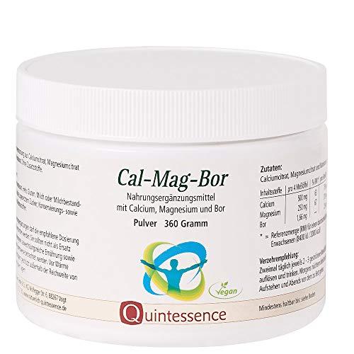 Cal-Mag-Bor, 360 g Pulver, Quintessence | Ohne Zusatzstoffe | Vegan | Reine Pulvermischung aus Calciumcitrat, Magnesiumcitrat und Natriumborat (Borax) | Hohe Bioverfügbarkeit | Laktose-Frei