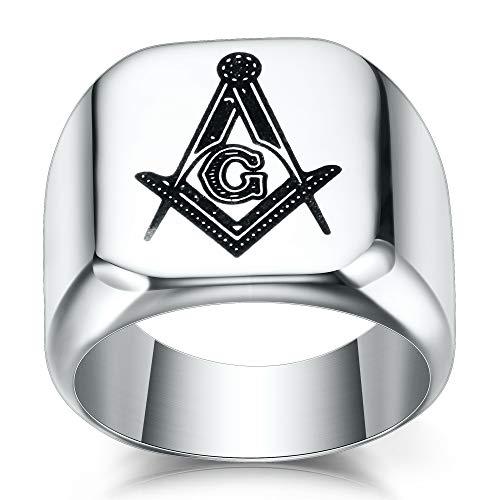 VQYSKO Silver Mens Masonic Signet Ring Size...