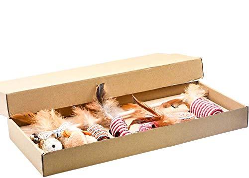 JIN CAN Coffret cadeau pour jouets pour chat - Baguette interactive pour chat - 7 pièces de plumes remplaçables - Jouet amusant pour chat - En bois massif naturel et lin