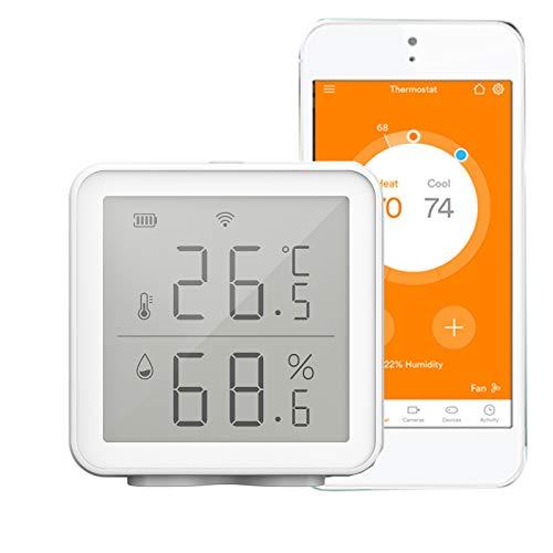 Kecheer Termómetro higrómetro WIFI digital,Termómetro humedad y temperatura con alarma compatible con Alexa/Google,Termometro ambiente interior casa,Smart Life/Tuya app