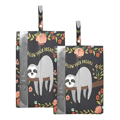 Mnsruu Follow Your Dream Sloth - Bolsas de viaje (2 piezas, tamaño estándar: 23 x 38 cm, tamaño XL: 23 x 43 cm)