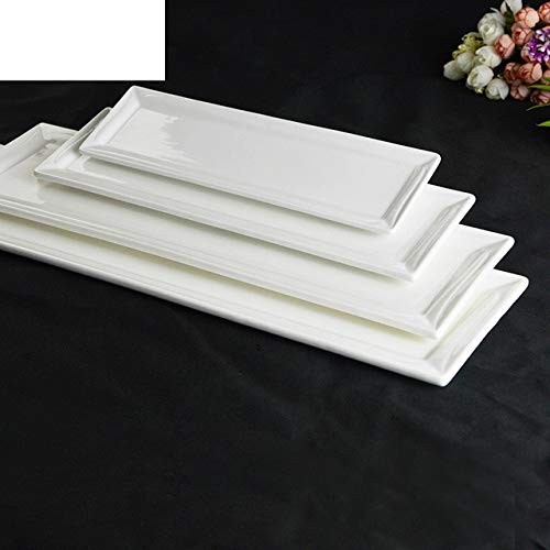 Platos de cerámica Utensilios Platos de sushi rectangulares Vajilla de hotel blanca pura Vajilla27.5X8.1X1.3CM
