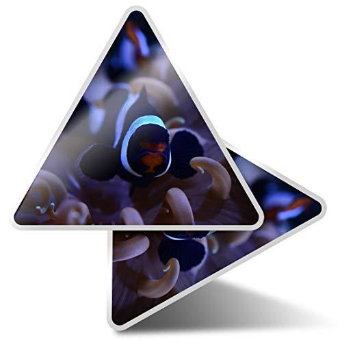 2 pegatinas triangulares de 10 cm – Onyx Clownfish Tropical Reef Fun Calcomanías para portátiles, tabletas, equipaje, reserva de chatarra, neveras #3534