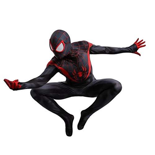 KIDsportxie Costume Cosplay Miles Spider-Man Into The ragnoverso Role Play Siamese Abbigliamento Spider-Man Un Nuovo Universo Body Lycra Tuta per Halloween,Adults/XL(170~175CM)