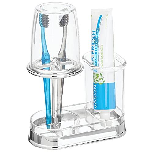 mDesign porte brosse à dent avec gobelet – verre à dent de qualité avec couvercle pour la salle de bain – rangement brosse à dents et dentifrice en plastique – transparent/argenté