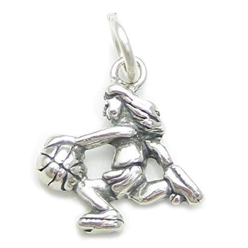 Weibliches Basketball Spieler Sterling Silber Charm .925 X1 Basketball Charms CF2944