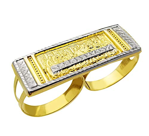 Men's 10K Yellow Gold Last Supper Ring Two Finger Ring Double Finger Thin Ring