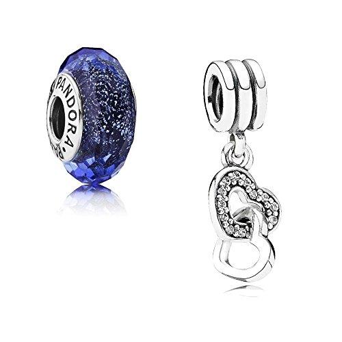 Pandora Original Set de regalo – 1 péndulo de plata 791242CZ entrelazado corazones + 1 colgante de plata 791646 iridiscente facetado azul