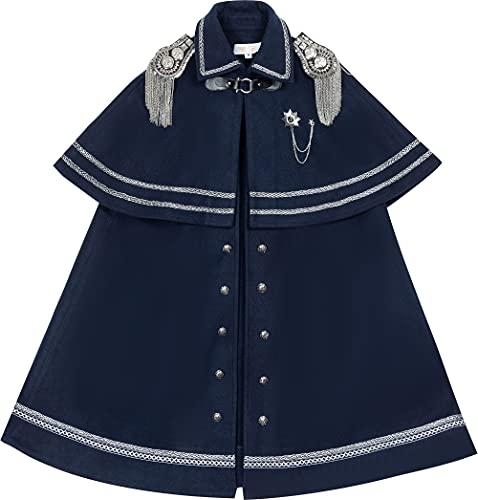 WKNBEU Mujeres Militar Capa Lolita Cabo Blue Plus Tamaño Top Kawaii Ropa Vestido gótico Anime Cosplay Disfraz A-L