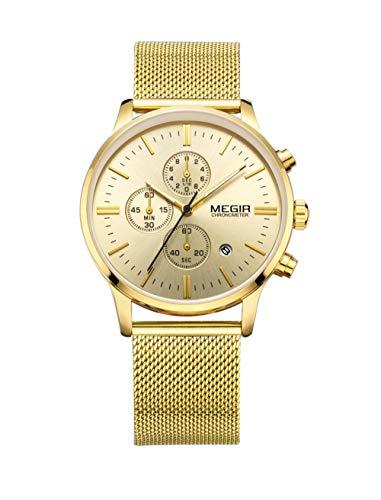 Reloj para Hombre Reloj para Hombre Cronógrafo Fecha analógica Relojes de Moda de Cuarzo-B