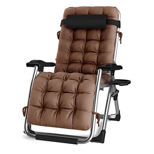 DQCHAIR Oversize Zero Gravity Locking Patio Liegestuhl im Garten & im Freien Home Lounge Chair Klappstrand Liegestuhl mit Wattepad (Color : Brown)